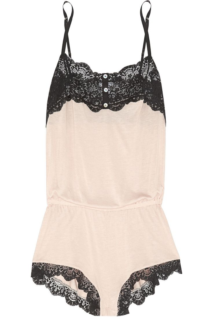 Very sexy ! Sleep wear cream colored with black lace lingerie. For that night.