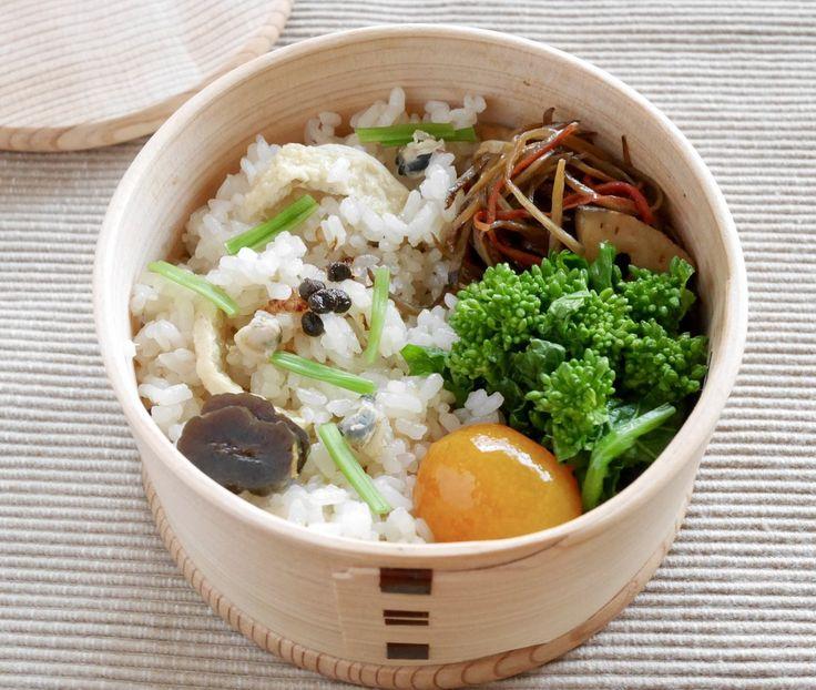 しじみご飯(お揚げさん入・芹 実山椒佃煮 奈良漬)・菜の花生姜漬・金平牛蒡・金柑蜂蜜煮