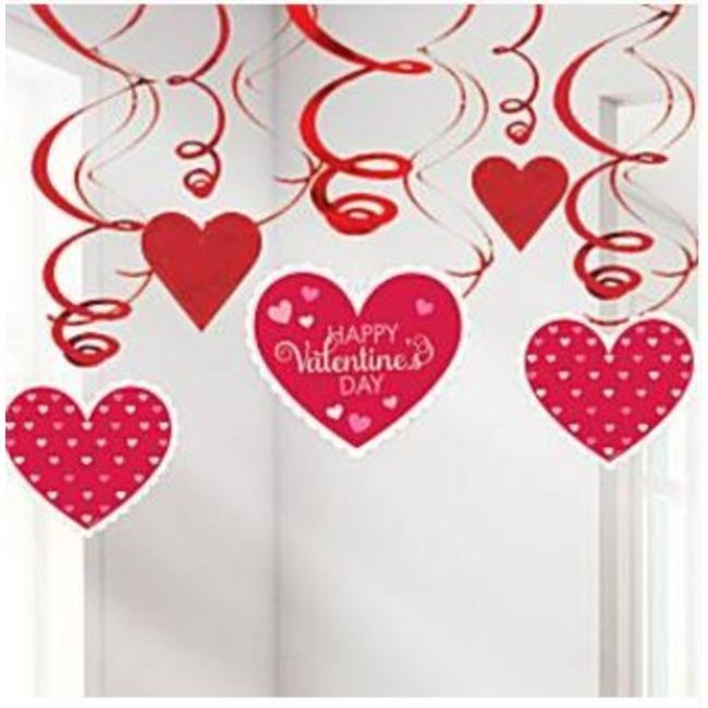 Valentijn Hartjes Swirl Slingers In De Kleur Rood Met Roze Valentijnsdag Decoraties Valentijnideeen Valentijn Decoratie