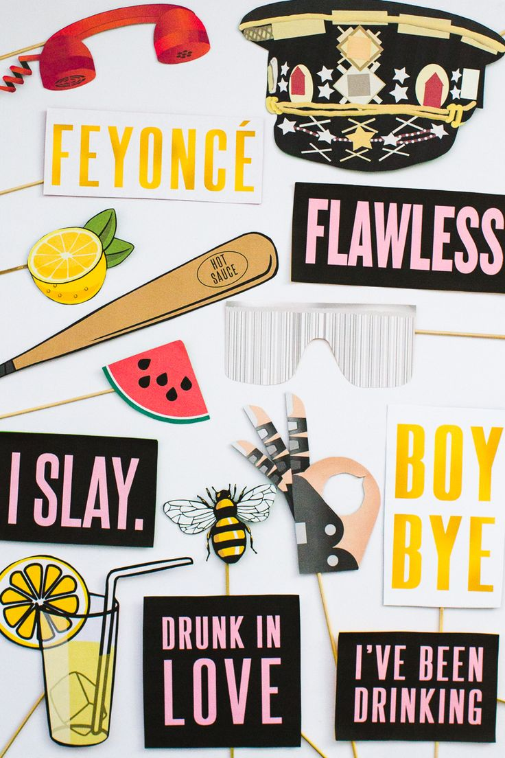 Beyoncé Beyonce Photo Booth Props Bachelorette Party Hen Party Bridal Shower Decor Decorations Accessories Feyonce Queen Bey-8