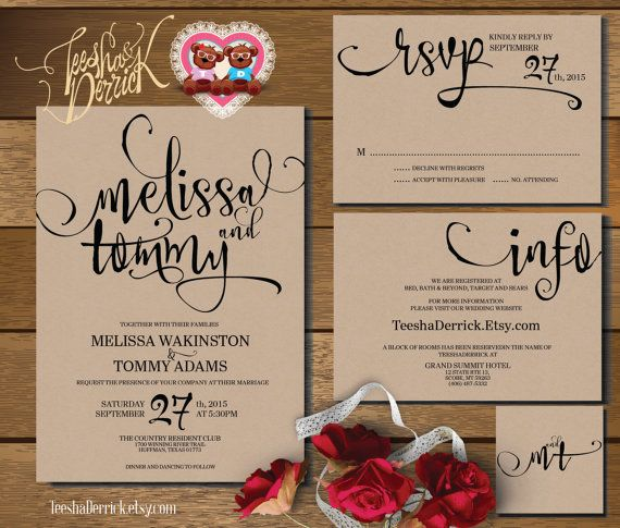 Printable Wedding Invitation Suite (w0346), consists of invitation, RSVP, monogram and info design in hand lettered typography theme.