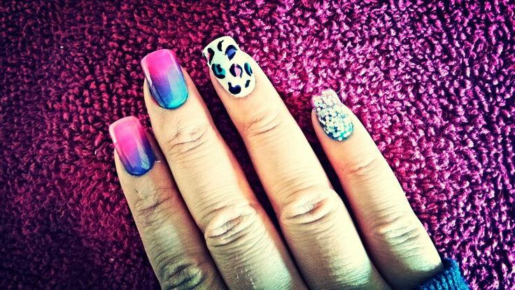Pink, purple and blue Ombre nails with leopard and glitter art