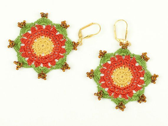 Beaded Lace Earrings  Yellow Orange Green  Glass by PinaraDesign, $24.00