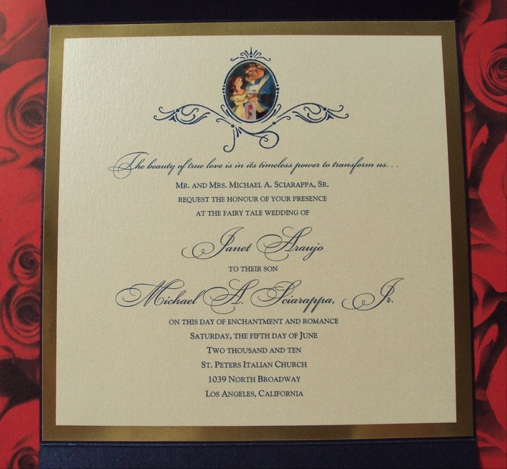 Inside Of Beauty And The Beast Invitation   Http://www.fairytalewedding.