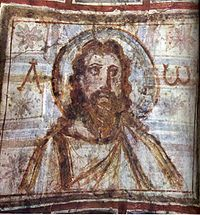 Bearded Christ, from catacombs of Commodilla These catacombs, on the Via Ostiensis, contain one of the earliest images of a bearded Christ. They originally held the relics of Saints Felix and Adauctus.