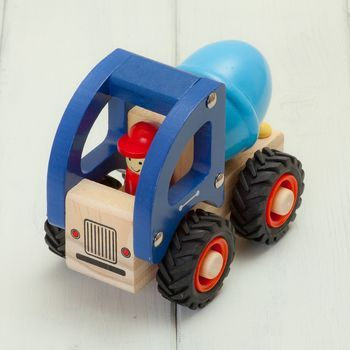 Children's Cement Mixer Truck Wooden Toys; frame it