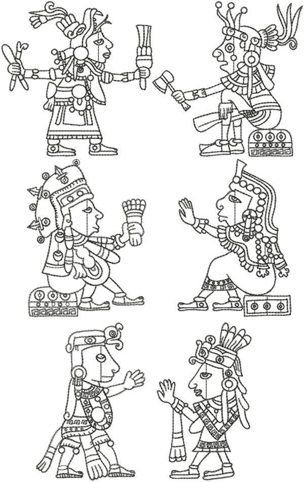 Mayan Art Redwork Set