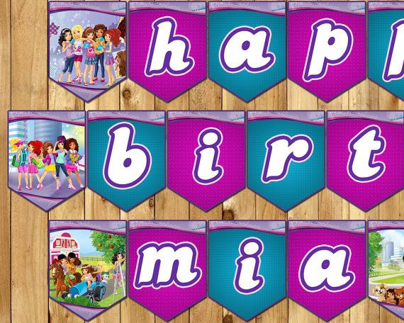 Lego Friends Inspired Birthday Banner  Lego by InstaBirthday