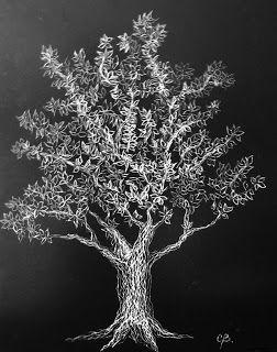 El Árbol de la Vida I, tallografía 24 x 34 cms. @copyright Carolina Busquets.