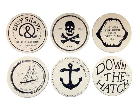 Nautical party for Terry! these would look great in a floating glass frame! Maritime Coasters, $15