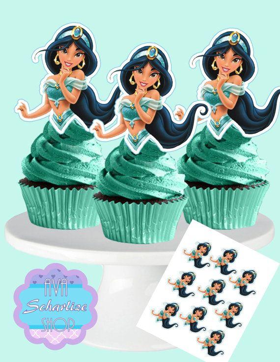 Princesa jazmín Cupcake Toppers, princesa Jasmin Cupcake Toppers Cupcake Picks descarga inmediata