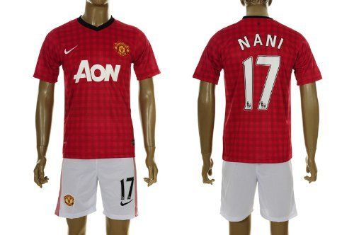 Manchester United 2012 - 2013 NANI Home Jersey Shirt & Shorts Size S by Nike. $49.99. Printed sponsor. Machine washable. Adult Jersey  Shirt & Shorts  Size S. Manchester United Club badge. Nike Dri-Fit fabric. Nike Manchester United Home Jersey 2012/2013  Cheer on the Red Devils in the new Nike Manchester United 2012/2013 Home Shirt, complete with a checked design for a fresh and stylish look, with the club badge and Nike Swoosh adorning the chest and the official s...