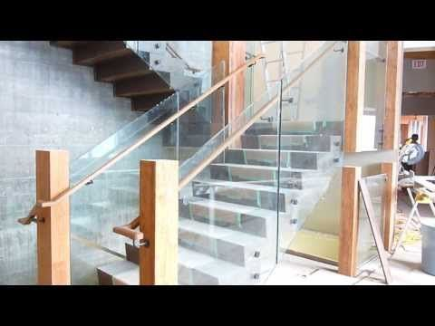 Stairs and railings in the main entrance of Mica Heli-skiing Lodge in British Columbia