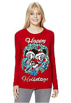 Disney Happy Holidays Christmas Jumper - Red