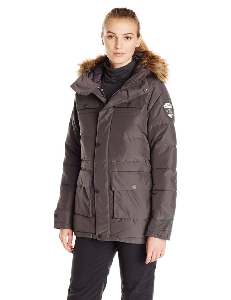 Burton Women's Essex Puffy Jacket, Faded, Medium. Hood with Removable Faux Fur Trim. Waterproofing: blue sign Approved dry ride durashell 2-layer lightweight fine twill fabric [10,000mm, 10,000g]. Warmth: mapped with Thermolite synthetic down engineered throughout the body, sleeves, hood, and collar with printed taffeta and new living lining. Water-resistant screen grab media Holster. Lifetime warranty.