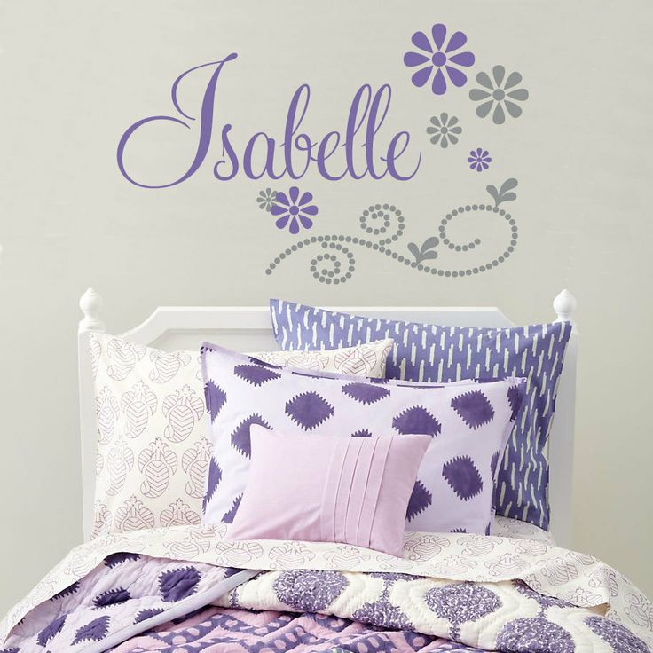 Girls Name Wall Decal With Flowers And Polka Dots by FleurishWalls, $36.95