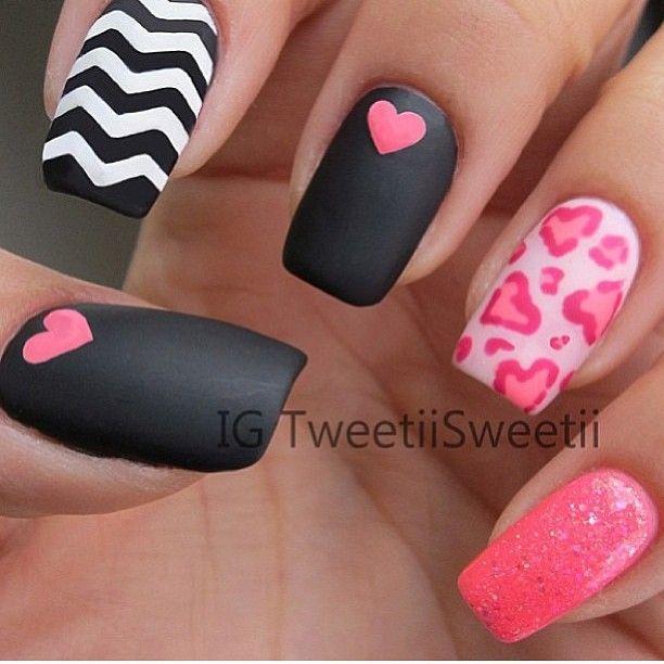 MATTE, chevron valentines nails