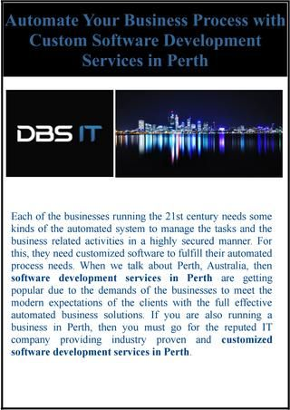 Automate Your Business Process with Custom Software Development Services in Perth