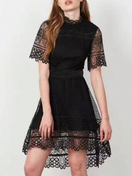 Black High Neck Short Sleeve Dipped Hem Lace Overlay Dress