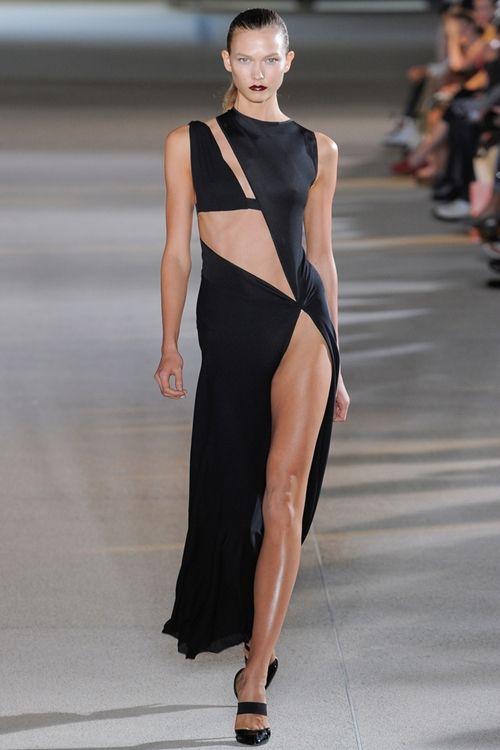 Skin is in. #Black #Dress #Dramatic #Cutouts #Runway #High ...
