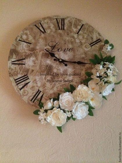 Прекрасное время - Холодный фарфор,полимерная глина,интерьер,часы,необычный подарок