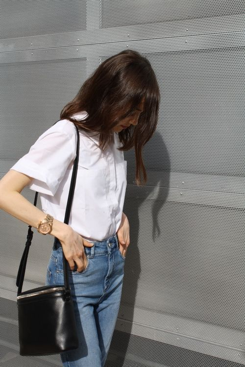 glasses shop online White shirt with high waisted jeans  style  clothes