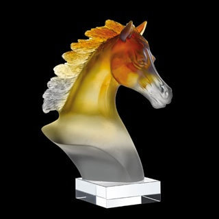 Daum Crystal Arabian Horse Head Amber Grey. Biggs Ltd. Gallery. Price $1,305. 1-800-362-0677.