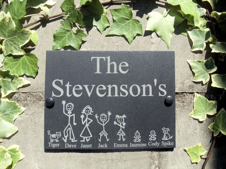 Personalised Slate Stick Family House Name Or Number Door Sign Plaque 20 x 15cm | eBay