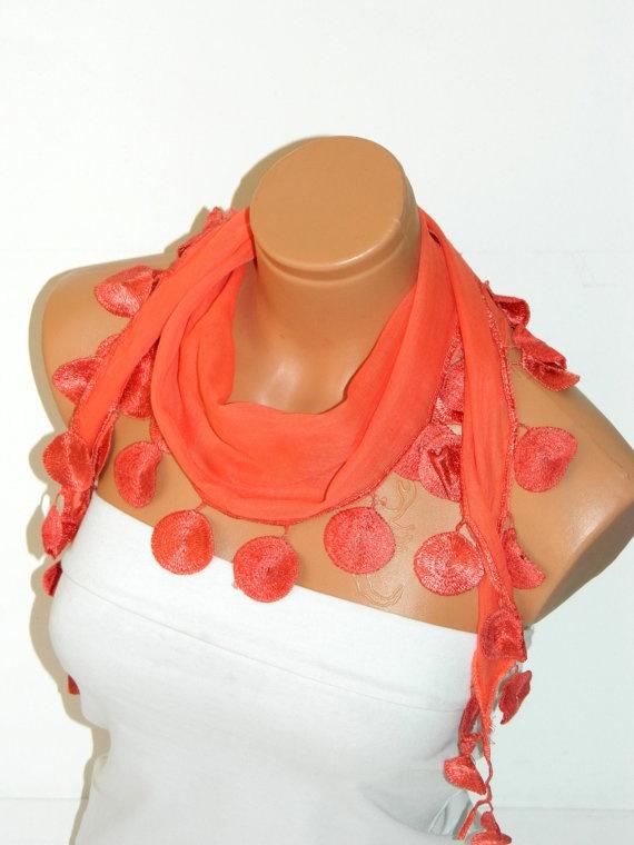 Personalized Design orangeScarf Turkish Fabric by WomanStyleStore, $14.00