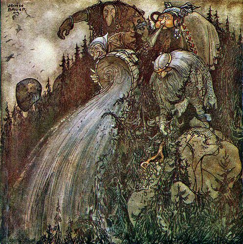 the-unknown-friend: 1909 John Bauer (Swedish Illustrator, 1882-1918) ~ From 1915 Bland Tomtar Och Troll (Among Gnomes and Trolls):