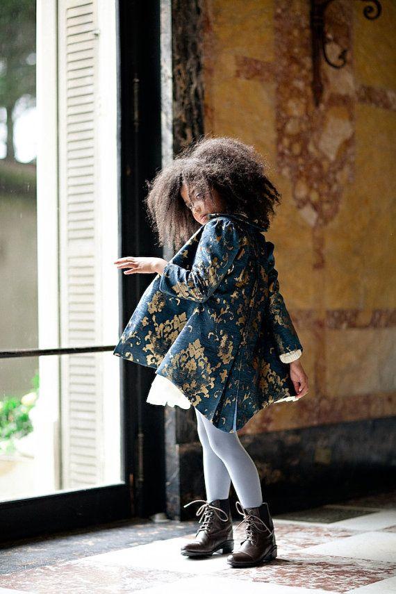 Girls Navy & Gold JORDAN Brocade Tailored Coat - Lilla Grey F/W '13 Pompeii Dreams Collection