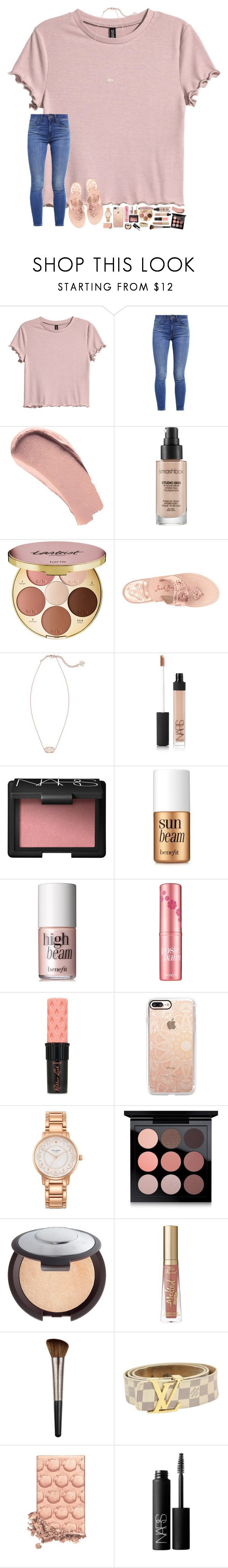 """""""happy valentines day """" by hopemarlee ❤ liked on Polyvore featuring H&M, Levi's, Burberry, Smashbox, tarte, Jack Rogers, Kendra Scott, NARS Cosmetics, Benefit and Casetify"""