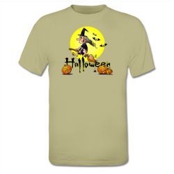 Halloween T-Shirt featuring a witch on a broom and some pumpkins. #ShirtCity #Cradvibes #Tekenaartje #Halloween