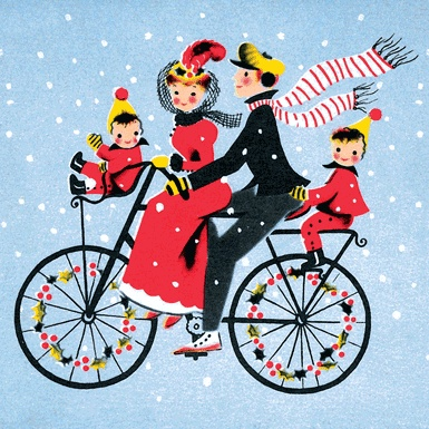 Christmas Bike Ride, Card from the George Buday archive, by Anonymous, U.S.A., 20th century.