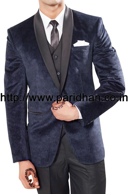 Groom party wear suit made in navy blue color polyester fabric. It has bottom as black color polyester fabric trouser.