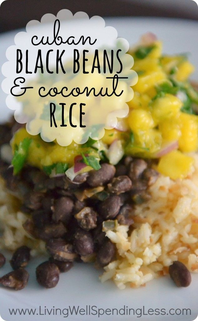 Black Beans & Coconut Rice Recipe. Living on rice & beans doesn't have to be boring! This simple & budget-friendly recipe is absolutely delicious and full of flavor.  My kids can't get enough of the coconut rice!