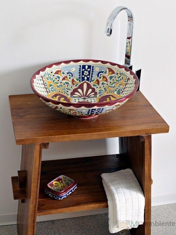Farbenfreudiges Waschbecken, handemalt, mexikanische Keramik von Mexambiente