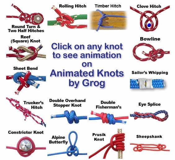 Knots Landing - Animated Instructions on how to tie a knot. #camping #tips