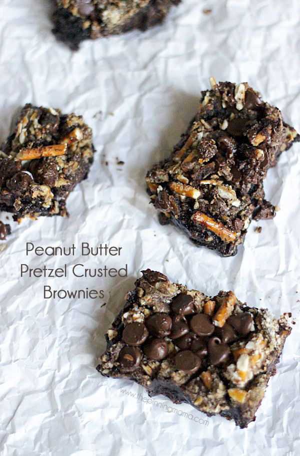Peanut Butter Chocolate Pretzel Crusted Brownies.  Make a brownie mix into a gourmet treat! Recipe via thepinningmama.com