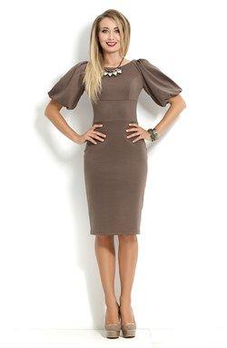 Кофейное коктейльное платье с объемными рукавами