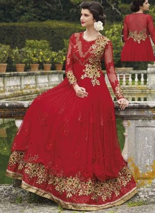 Lovely Red Embroidery Booti Work Georgette Wedding Gown