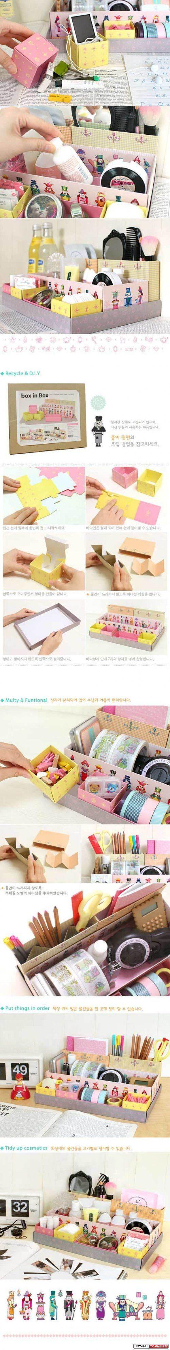 BOX IN BOX DIY Makeup / cosmetics / stationary organizer box