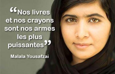 24 avril - C'est la Journée mondiale du livre et du droit d'auteur! Célébrons les livres comme outils puissants pour promouvoir la compréhension et la tolérance et consolider la paix. Partagez le message de Malala, cette écolière blessée par les Talibans juste parce qu'elle continuait à se rendre à l'école... Plus d'information sur la journée :http://www.un.org/fr/events/bookday/