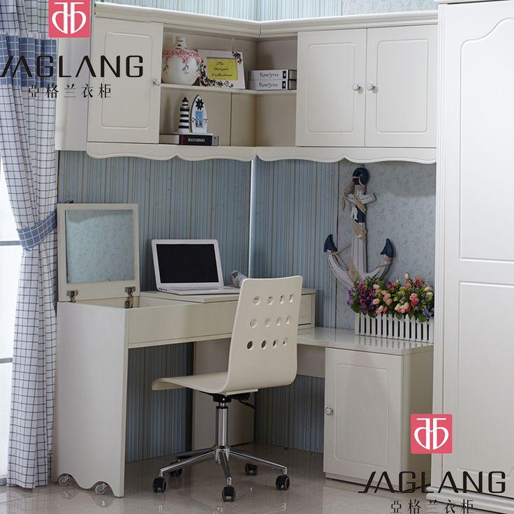 Menghemat ruang bedroom furniture murphy tidur lipat dinding tempat tidur dengan bergerak sudut meja komputer desktop