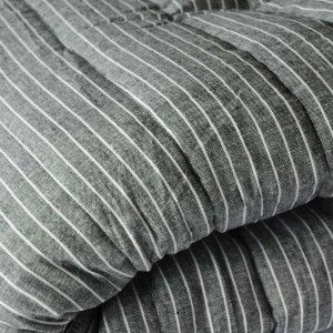 Her Shed Charcoal Striped Linen & Cotton Quilt QS $358.00 Charcoal Striped Linen and Cotton quilt in charcoal grey and white. A lightweight yet warm summer quilt, reverses to soft grey cotton.  Machine Washable  Measures 220 x 240cm.