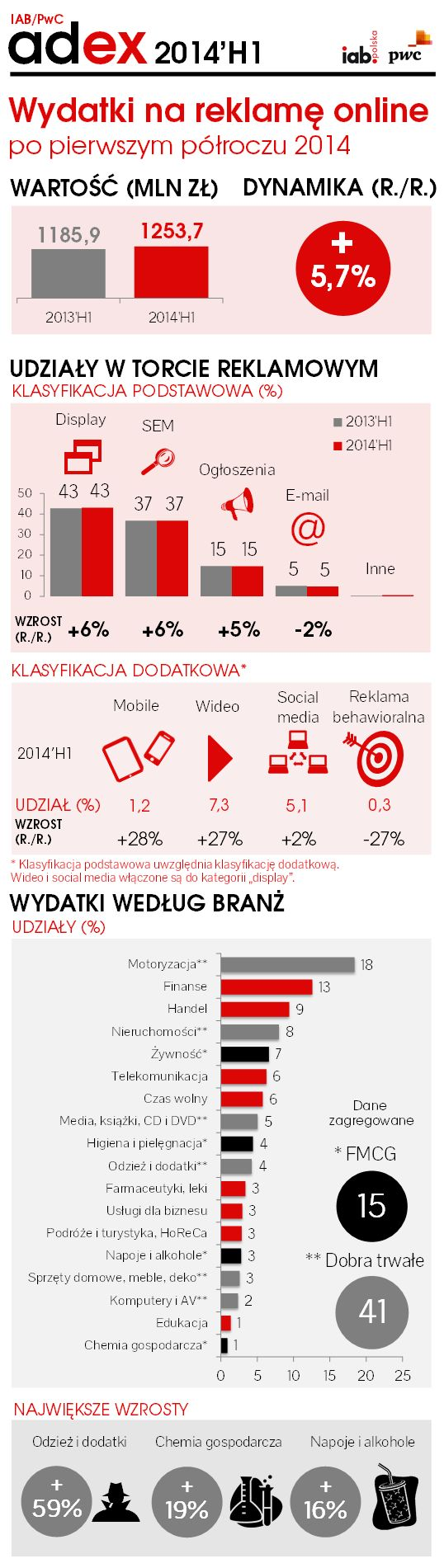 Wydatki na reklamę w polskim internecie - I półrocze 2014 r.