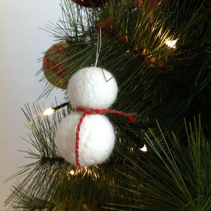 Little snowman!!  #winter #snowman #felt #wool #ornament #tree #christmas #handmade