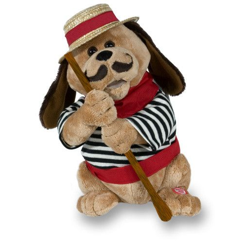 """Gondolomio The Singing Animated Dog. Gondolomio the singing animated dog wears a straw hat and striped shirt and holds an oar in his hands. His mouth moves and he moves side to side while singing """"O Sole Mio"""". Batteries Included."""