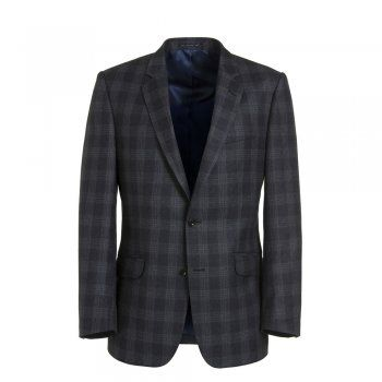 A beautiful 2-piece Magee wool suit, with a navy and grey check. The Dillon style is a tailored fitting garment. Jacket features include, slant pockets, contrasting two-tone under-collar, 2 buttons and side vents. Trouser details include belt loops.