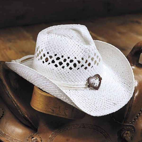 Mountain Heart Concho Hat  White ($25) ❤ liked on Polyvore featuring accessories, hats, white straw hat, heart hat, western style hats, cowgirl hat and western straw hats